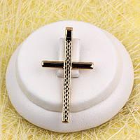 010-0756 - Позолоченный кулон-крест с рисунком ромбики