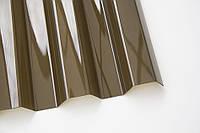 Профилированный монолитный поликарбонат ТМ Borrex 0,8мм. трапеция бронзовый