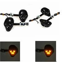2piars 12v LED мотоцикл череп поворота индикатор поворотник желтый свет головки