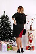 Женское трикотажное платье 0686 / размер 42-74 цвет черный+бордо, фото 4
