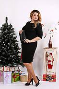 Женское трикотажное платье 0686 / размер 42-74 цвет черный+бордо, фото 3
