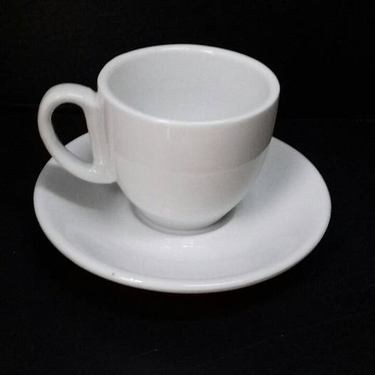 Чашка 80мл с блюдцем из белого фарфора (HR1318)