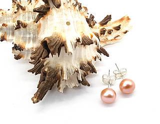 Серьги гвоздики, Розовая натуральная Жемчужина, 7мм, родий