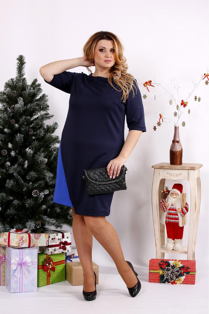 Женское трикотажное платье 0686 / размер 42-74 цвет черный+синий