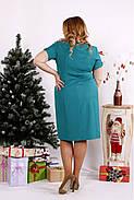 Женское строгое платье из костюмки 0685 / размер 42-74 цвет бирюза, фото 4