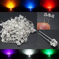 100шт 5мм 6 цвет соломенная шляпа LED светоизлучающие диоды вода ясно поделки широкий угол света