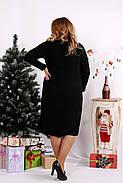 Женское ангоровое платье ниже колена 0684 / размер 42-74 цвет черный+зеленый, фото 4