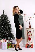 Женское ангоровое платье ниже колена 0684 / размер 42-74 цвет черный+зеленый, фото 2