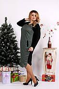 Женское ангоровое платье ниже колена 0684 / размер 42-74 цвет черный+зеленый, фото 3