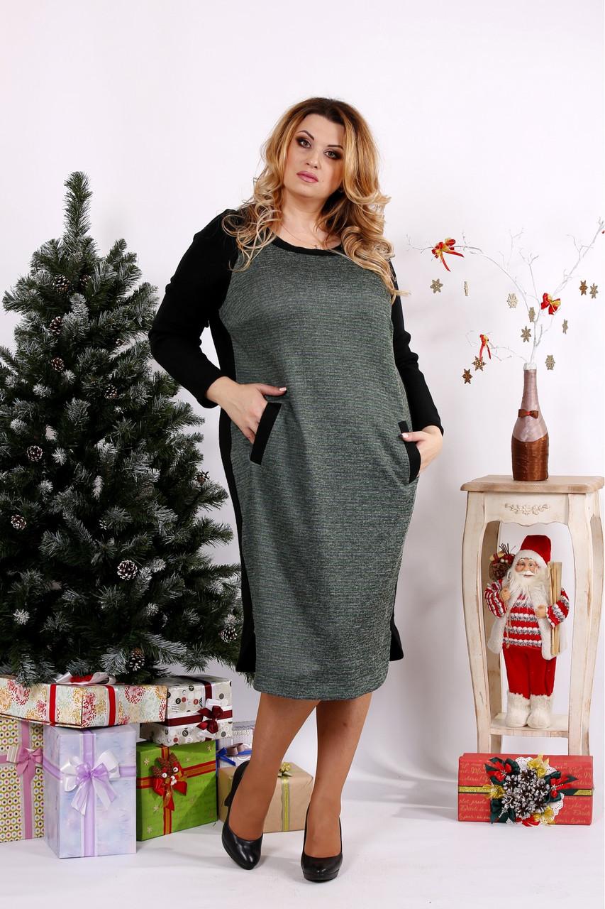 Женское ангоровое платье ниже колена 0684 / размер 42-74 цвет черный+зеленый