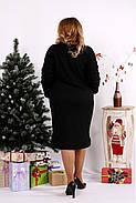 Женское ангоровое платье ниже колена 0684 / размер 42-74 цвет черный+серый, фото 4