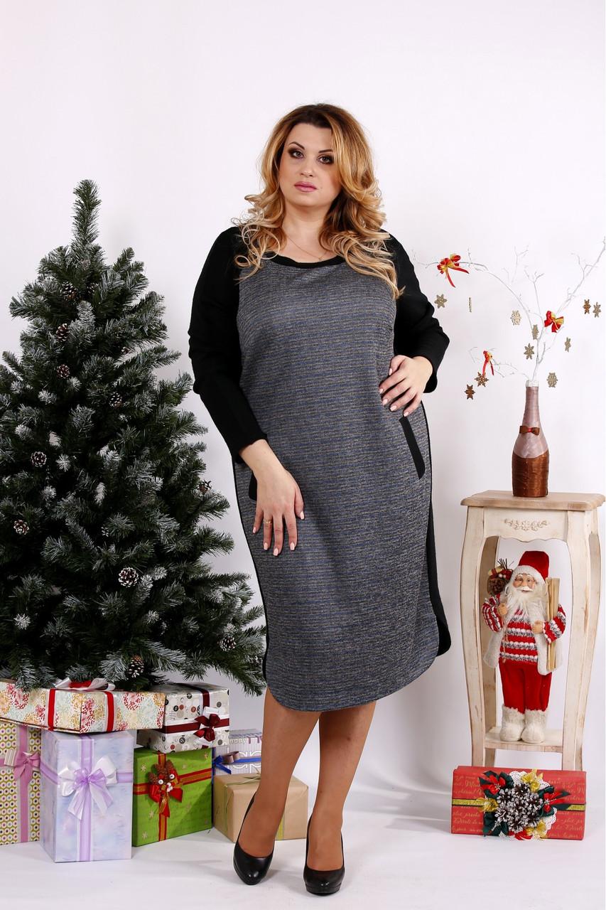 Женское ангоровое платье ниже колена 0684 / размер 42-74 цвет черный+серый
