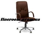 Кресло MANAGER steel chrome comfort+anyfix ECO-31 темно-коричневый
