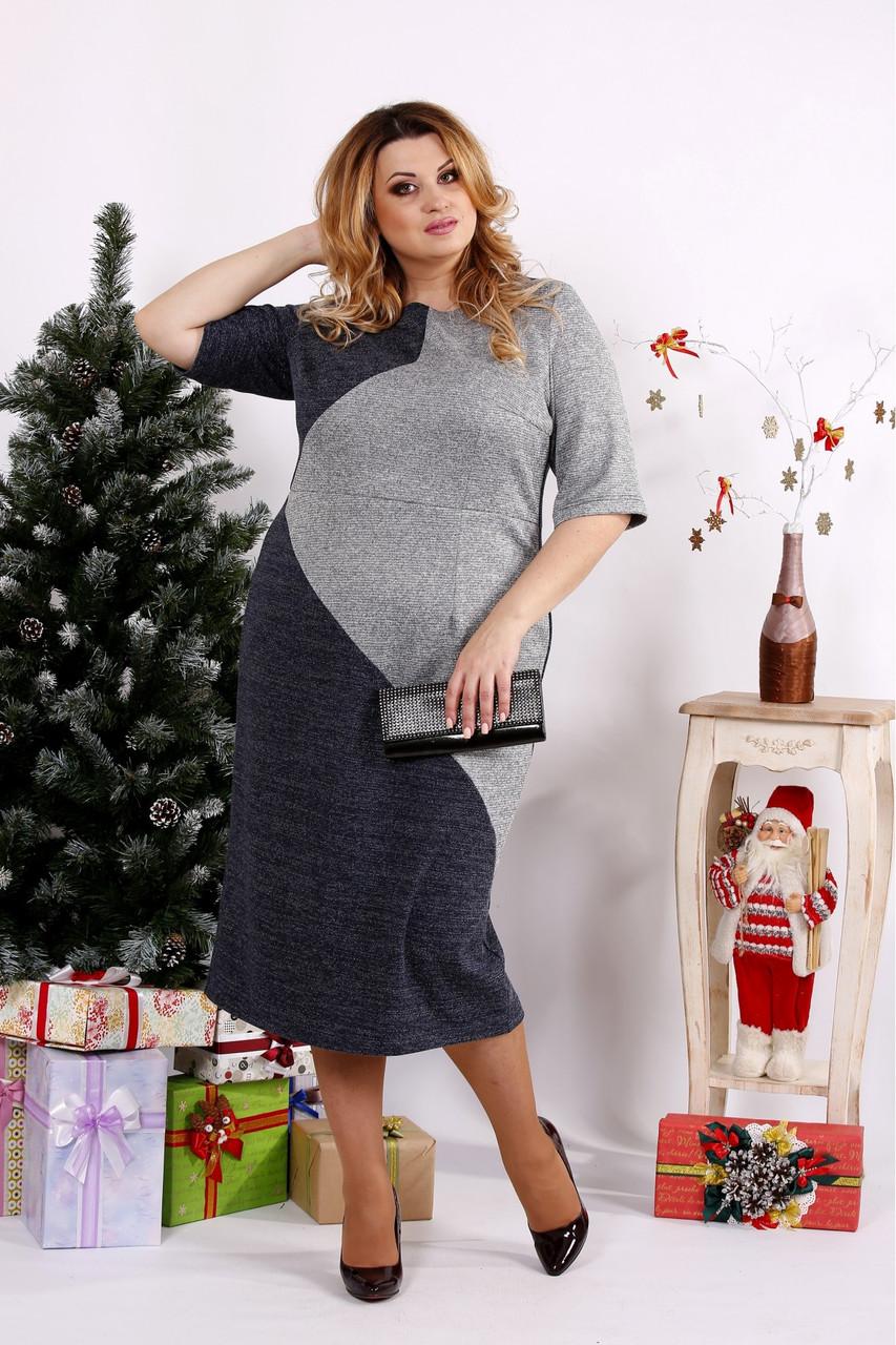 Женское платье с люрексом 0683 / размер 42-74 цвет синий+серый