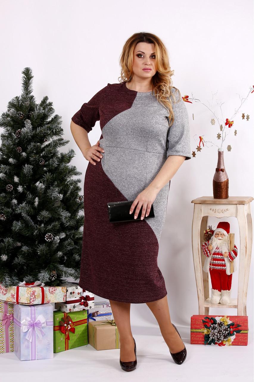 Женское платье с люрексом 0683 / размер 42-74 цвет серый+бордо