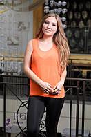 "Модная блуза-майка ""Хулиганка"" - распродажа оранж ШИФОН, 42"