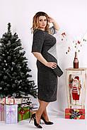Женское платье с люрексом 0683 / размер 42-74 цвет серый+черный, фото 2