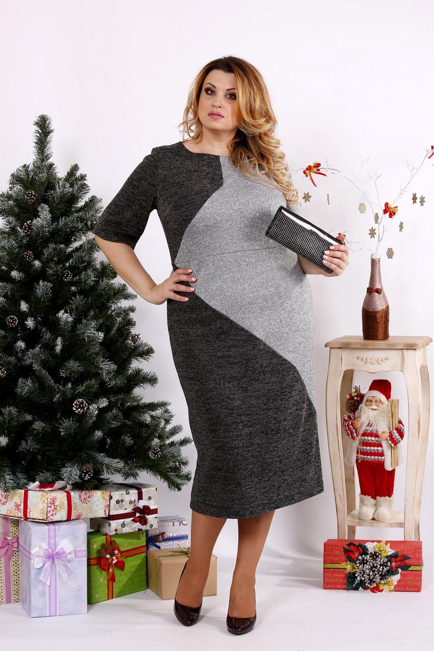 Женское платье с люрексом 0683 / размер 42-74 цвет серый+черный