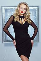 Нарядное оригинальное женское платье, чёрное, креп-дайвинг, размер 46