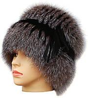 Женская меховая шапка из блюфроста,Барбара с полосой (голд)