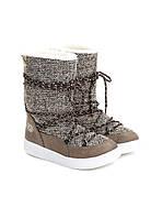 Сноубутсы женские серо-коричневые, луноходы (moon boot) Vices T066-2