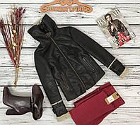 Модная кожаная куртка George с необычным высоким воротником на пряжках  OW50035