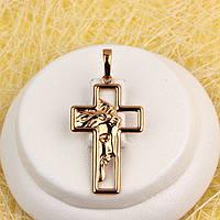R4-0786 - Кулон-крест Лик Христа розовая позолота