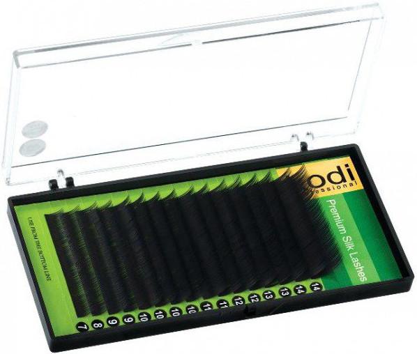Ресницы для наращивания Kodi Professional Green, C-0.07 (16 рядов: 14 мм.) черные