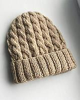 Хлопковая шапка с отворотом/с косами бежевая