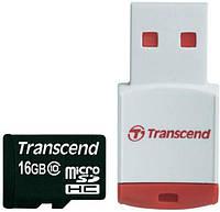 Карта памяти TRANSCEND microSDHC 16 GB Class 10 с RDP3 кардридером (TS16GUSDHC10-P3)