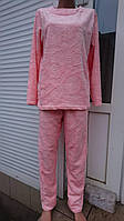 Женская пижама из пушистой двусторонней махры розового цвета, женские теплые пижамы оптом от производителя