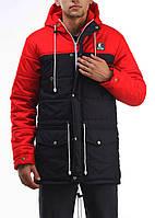 Зимняя куртка парка мужская Ястребь Тарас Casual черно-красная с капюшоном, удлиненная, молодежная 2017