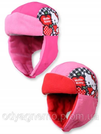 Шапка-ушанка для девочек  Hello Kitty оптом 52-54см.