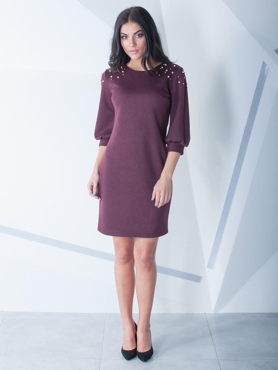 Красиве жіноче плаття з намистом по коліно 54