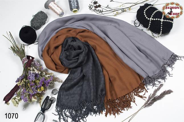 Коричневый мужской шерстяной стильный шарф из пашмины , фото 2