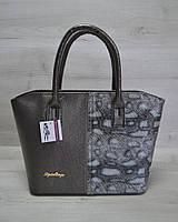 Классическая женская сумка «Две змейки» темно серый, серая змея