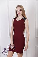 """Платье женское с кружевом """"Марго"""" бордо, 44"""