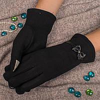Женские элегантные перчатки для смартфона на меху с декоративным бантиком Корона A115B XL