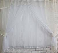 Комплект кухонные шторки с аркой  №17 Цвет шампань с белым