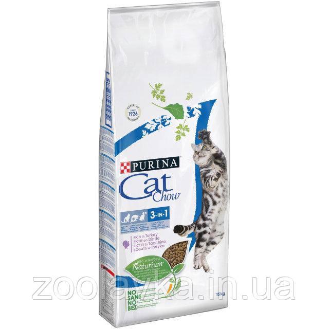 Purina Cat Chow Feline 3 in 1 Сухой корм для взрослых кошек (3 в 1) с индейкой 1,5кг