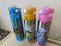 Термос для мальчиков и девочек с трубочкой поилкой 500 мл., фото 1