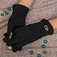 Женские элегантные перчатки для смартфона на меху с декоративной пряжкой Корона A115C L