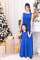 Праздничное синее детское платье с бантиком