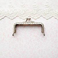 Фермуар (замок-рамка) для сумок и кошельков прямоугольный 8.5 см, серебро
