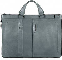 Надежная кожаная сумка с отделением для ноутбука Piquadro PULSE/Grey, CA4021P15S_GR серый