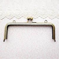 Фермуар (замок-рамка) для сумок и кошельков прямоугольный 20 см, бронза