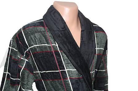 Халат для мужчин Клетка Черешки черный с зеленым XL, фото 2
