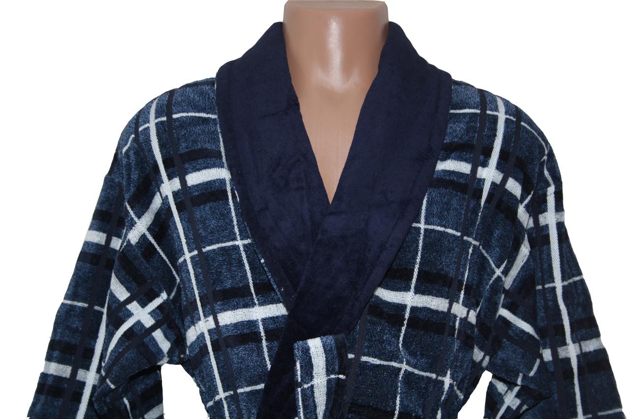 Халат для мужчин Клетка Черешки синий с белым XL