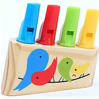 Радуга свирели деревянная игрушка птицы свистели музыкальный eduactional детский подарок