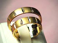 Кольцо 585 пробы обручальное лимонное золото, фото 1